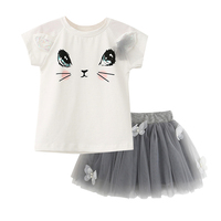 Summer Print Cat T Shirts Net Veil Tutu Skirt Baby Short Sleeve Cartoon Kitten Printed Girls