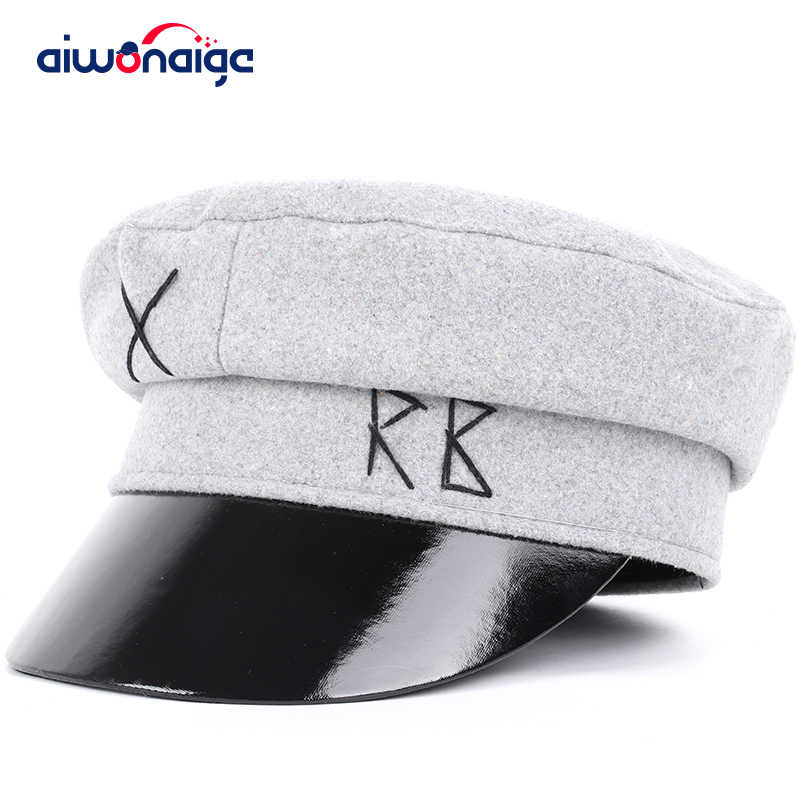 New letter embroidery military cap leather men's hat washed cotton flat cap men and women military caps universal sun hat bones
