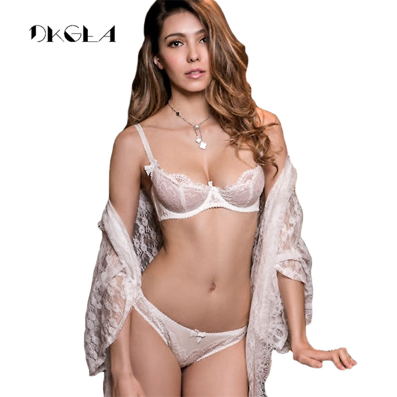 White Lace Bra Set 1/2 Cup Hollow Out Brassiere See Through Bra Transparent Lingerie Women Plus Size Sexy Underwear Sets 1
