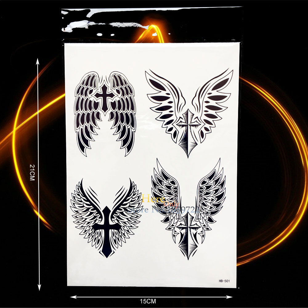 Cool Black Armband Fake Tattoo Cross Wing Feather Design Body Neck Art Temporary Arm Tattoo Sticker Waperproof Leg Decals HHB501