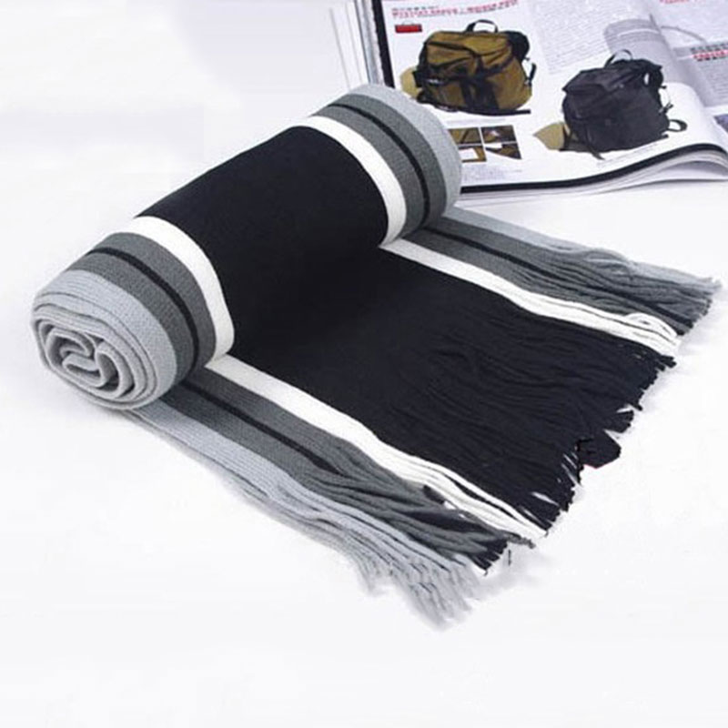Shawl Scarf Long Pashmina Winter Fashion Classical Warm Men Striped HSJ88 Artificial