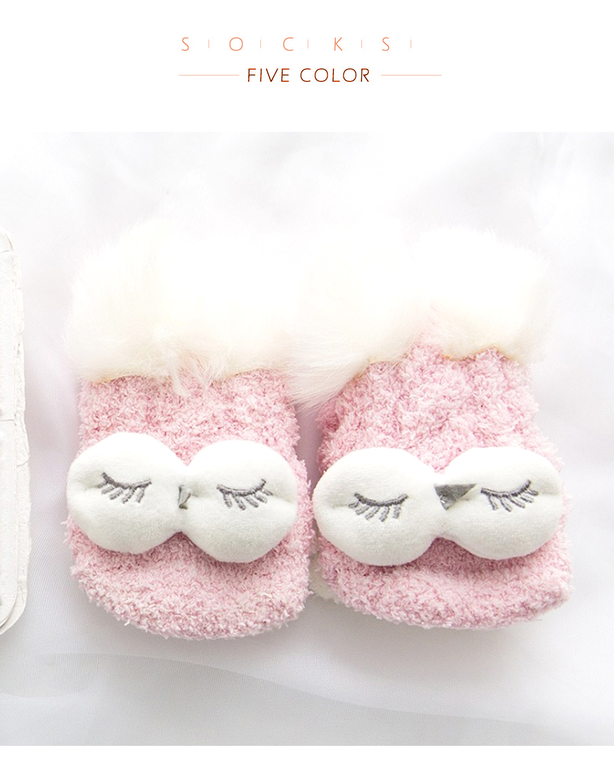 Autumn And Winter Coral Velvet Sleep Sock Female Tube Thickening Warm Round Big Eyes Home Non-Slip Towel Cute Girl Floor Socks (10)