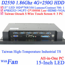 """15"""" Mini PC ALL IN ONE PC Computer with 5 wire Gtouch 4: 3 6COM LPT LED touch 4G RAM 256G SSD Dual 1000Mbps Nics"""