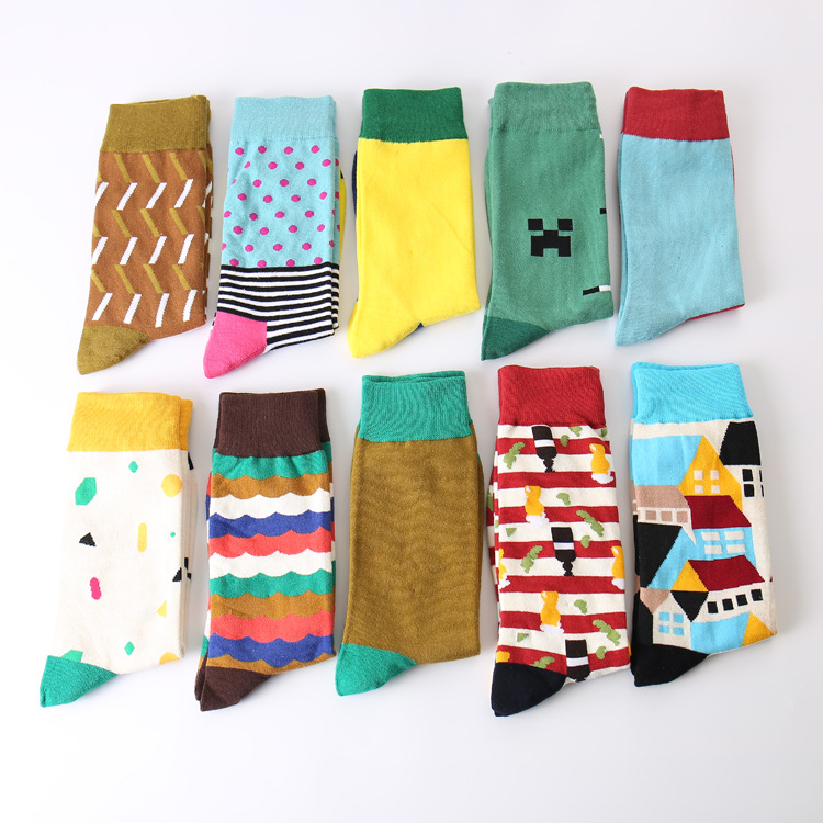 Colour Men Crew Cotton Happy Socks British Style Argyle Dot Striped Pattern Harajuku Designer Brand Fashion Novelty Art Funny
