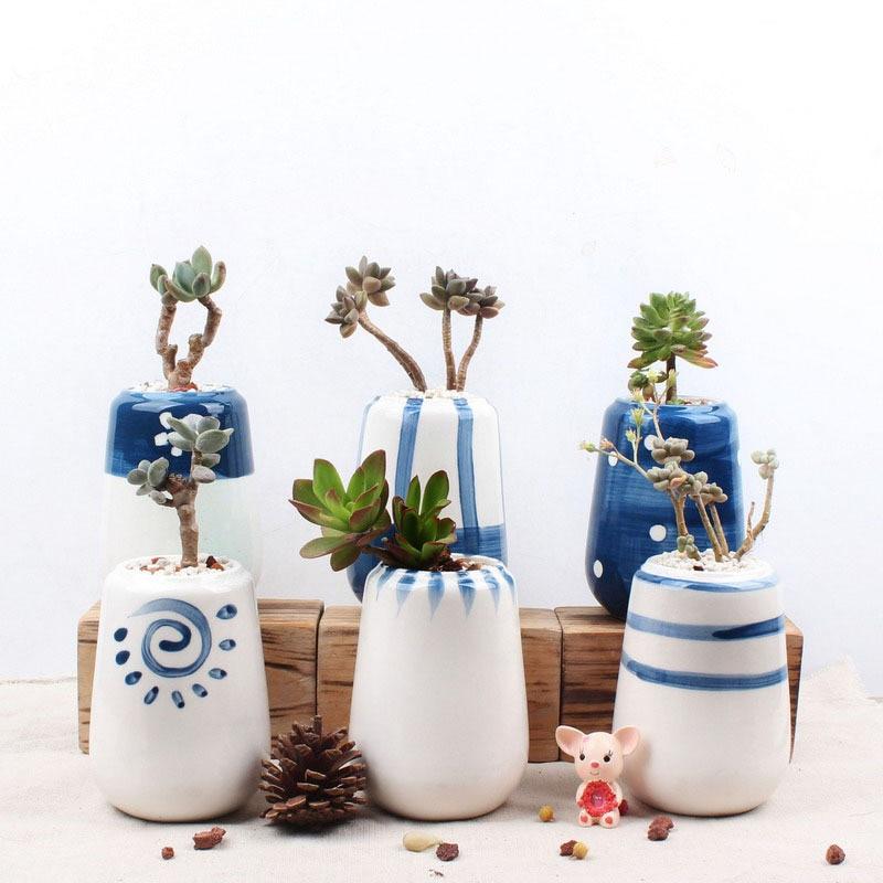 Набор из 6 оригинальный Дизайн Керамика сочные горшка ручная роспись фарфора кашпо Desktop цветочный горшок для дома и сада