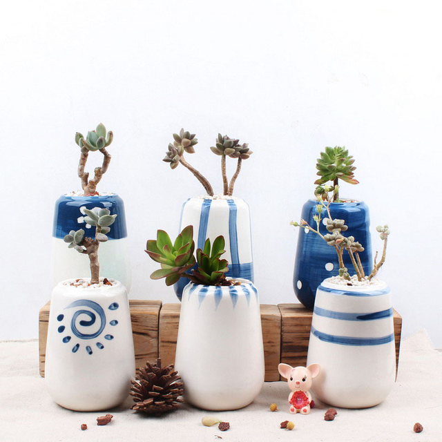 Set of 6 Original Design Ceramic Succulent Plant Pot Hand Painted ...