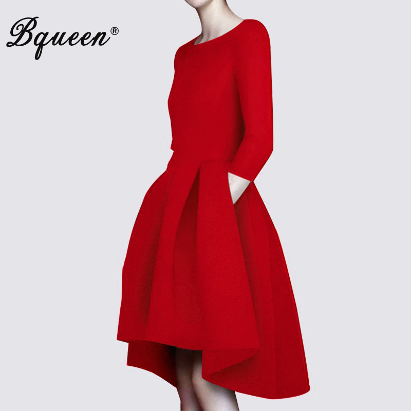 Bqueen 2017 New Vintage Women's Formal Black Red Dress Casual O-Neck Half Sleeve Short Front Long Back Party Dresses