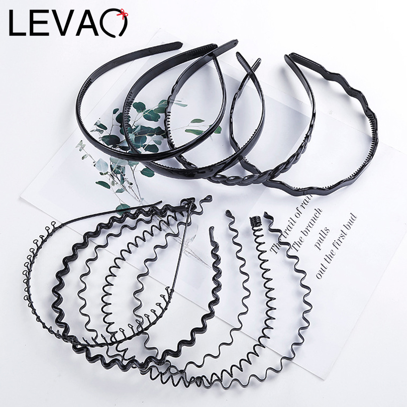 LEVAO Boys Girls Black Metal Waved Style Holiday Sports Hairband Solid New Men Women Unisex Hair Band 1Pcs Casual Adult Headwear