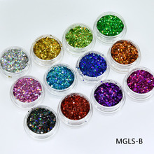 12jars/lot 12colors Mix Holographic Nail Glitter Powder Lase