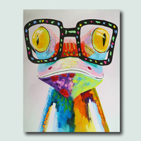 High Skills Artist 100 Hand Painted Frog Oil Painting On Canvas With Frame Handmade Abstract Painting