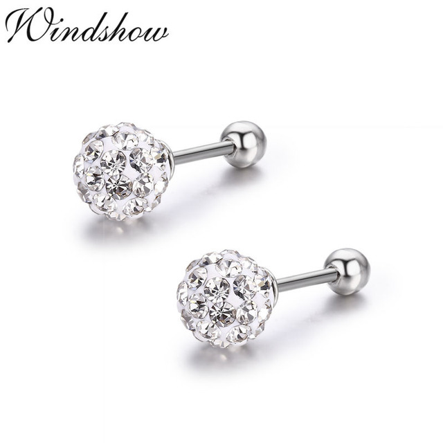 4d1941650 Cute Crystals Round Ball 925 Sterling Silver Screw Back Stud Earrings For  Women Girls Child Kids