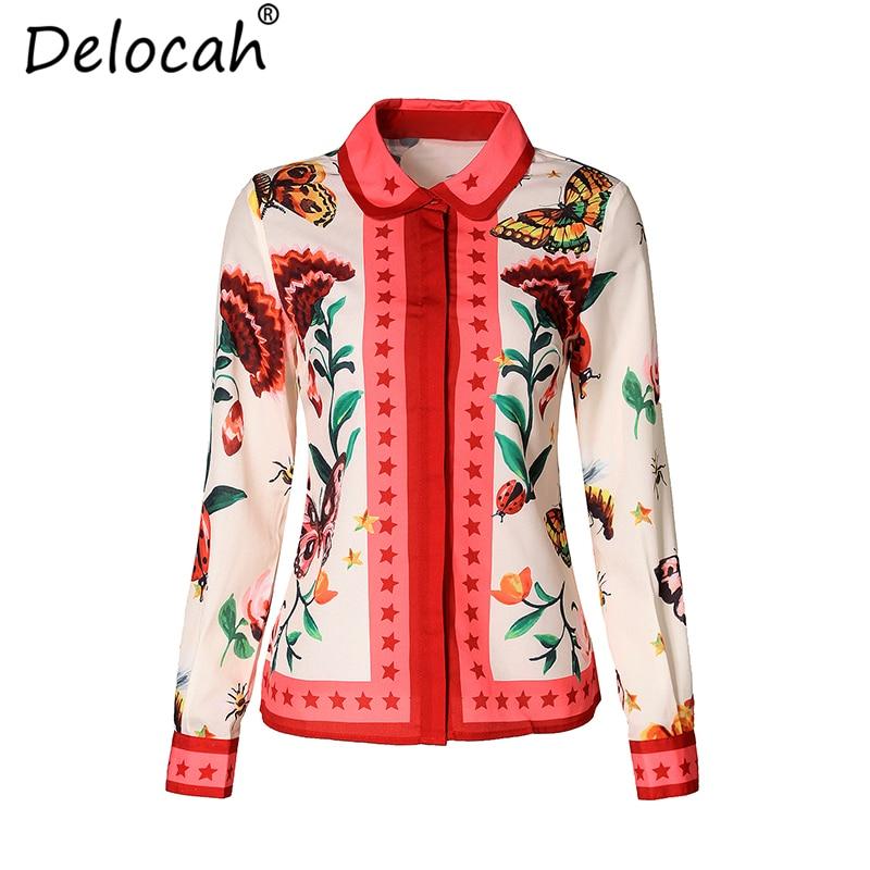 Delocah Summer Women Blouses Elegant Bow Collar Long Sleeve Shirt Fashion Tops Casual Printed Blouse Female