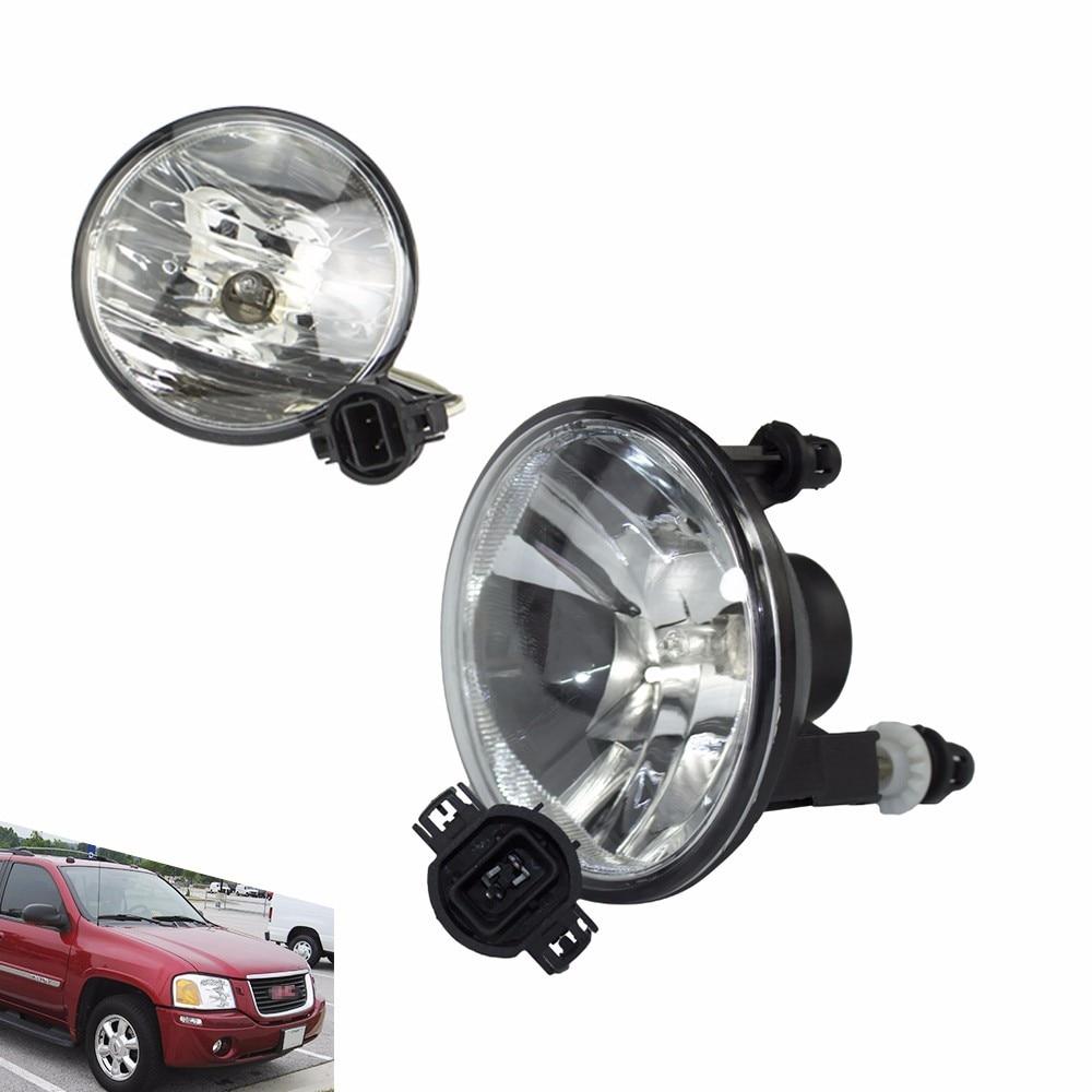 CNSPEED Fog light for Gmc 2002 - 2009 Xuv Sle Slt Denali (Left + Right) fog lamps Lens Bumper Fog Lights Driving Lamps TT100886 fit for 15 17 gmc yukon denali front fog light lamp chrome bezel lh rh h3 12v 20w clear lens