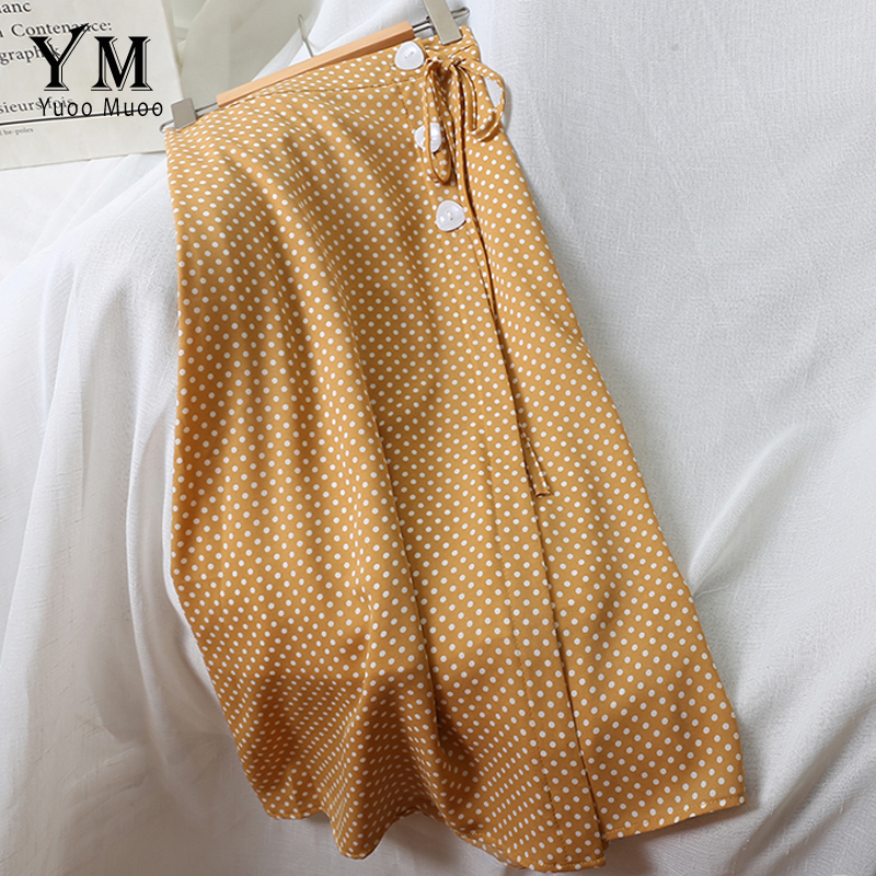 YuooMuoo Side Buttons Design Bandage Vintage Polka Dot Skirt 2019 Summer Women Sweet High Waist Yellow Skirt Literary Midi Dress