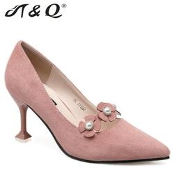 T q 2017 autumn women pumps 8cm fashion sexy high heels shoes petal pearl pointed toe.jpg 250x250