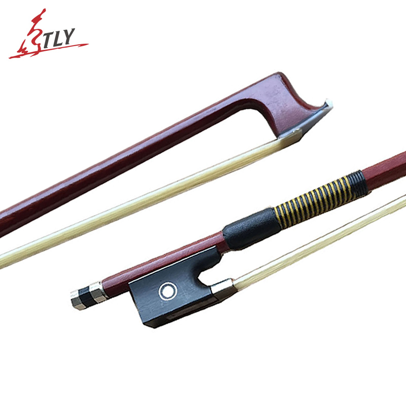 1 Piece Straight Brazilwood Octagon Violin Bow Ebony Frog Horsehair Beef Tendons Twined Fiddle Violin Bows Violin Parts