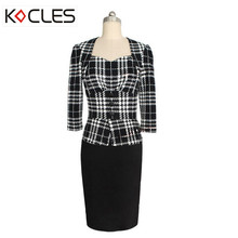 Women Fashion Business Tartan Elegant Work Full Sleeve Sqare Neck Buttons Fitted Office Faux Twinset Bodycon Female Sheath Dress