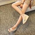 Стильный Вырезы Кружева Сладкие Женщины Сандалии Мода Оборками Лодыжки Пряжкой Ремень Wedg Черный Beigee Летняя Обувь