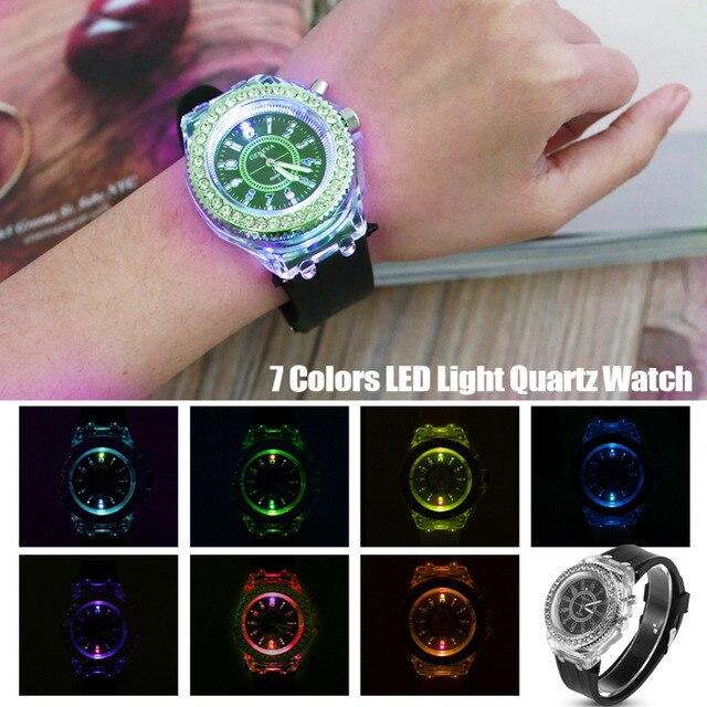 Luminous LED Sport Watches Women Quartz Watch ladies Women Men Silicone Kids Wri