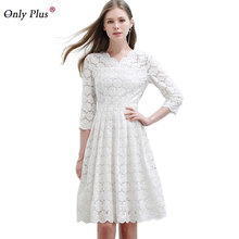 ONLY PLUS 2017 New Slim White Lace Dress Hollow Out Autumn Draped Lap Women Dress Half Sleeve Casual Cute Long Female Dresses