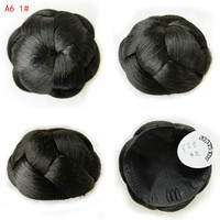 Heat Resistant Synthetic Hair Wig Braided Bun Twisted Fake Chignonn Hairpiece Clip Buns Toupee For Women