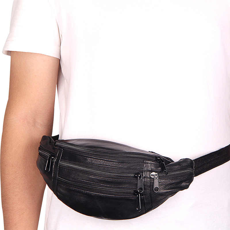 Breve Designer de Homens De Couro Genuíno Saco Da Cintura de Multi-função Saco Cinto Masculino Suave Superfície Fanny Saco Bum Viagem carteiras cinto