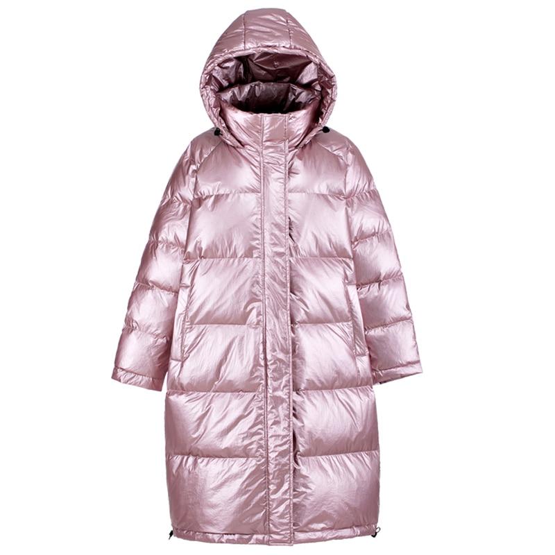 Shiny Jackets Women Winter Sustans Girl Coat New   parka   women's Streetwear Female Padded oversized Hooded jacket 2019 New BLACK