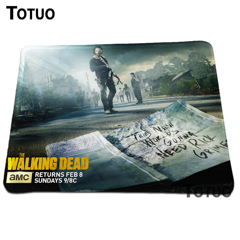 1PCs the Walking Dead poster season Background Pattern Durable Gaming Computer Mouse Mat Mice Pads Rectangular Lock Edge Pad
