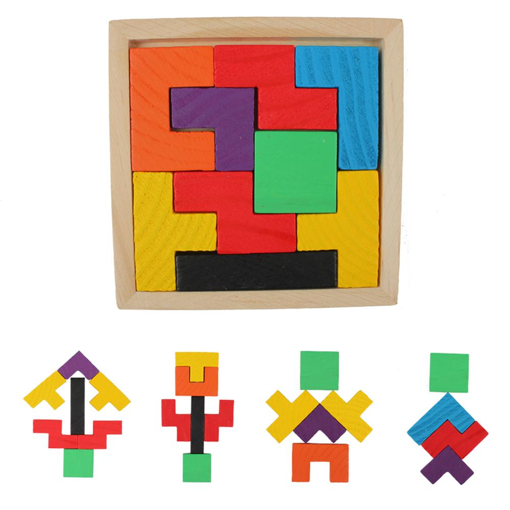 Children Brain Traning Wooden Sorting Nesting Jigsaw Toys 3D Puzzle Tangram Tetris Geometric Shape Game Learning Toys For Kids