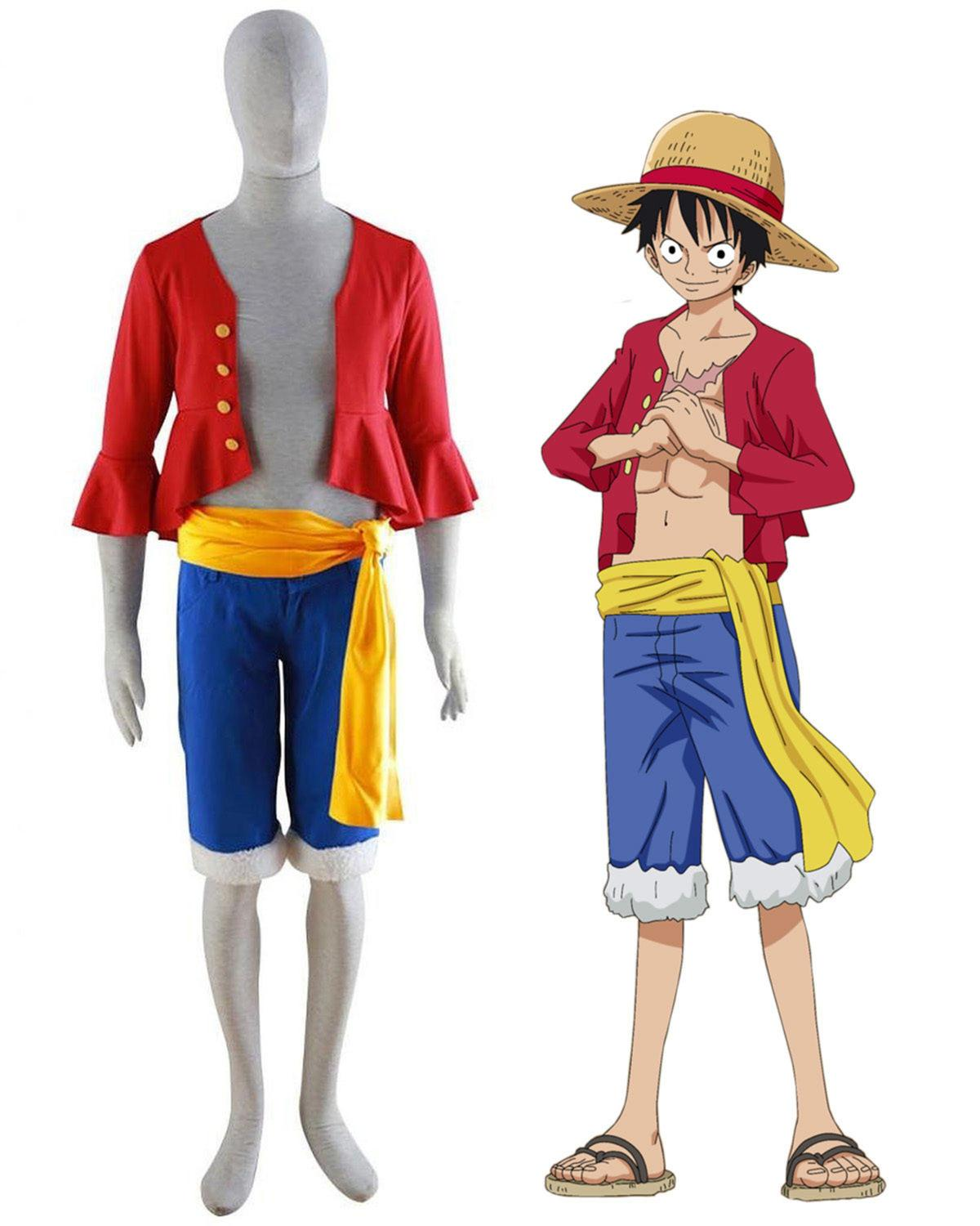 Home Luffy Cosplay Costumes Shirt Pants Wigs Shoes Summer Clothing Set For Halloween Party Christmas Glorious One Piece Monkey D