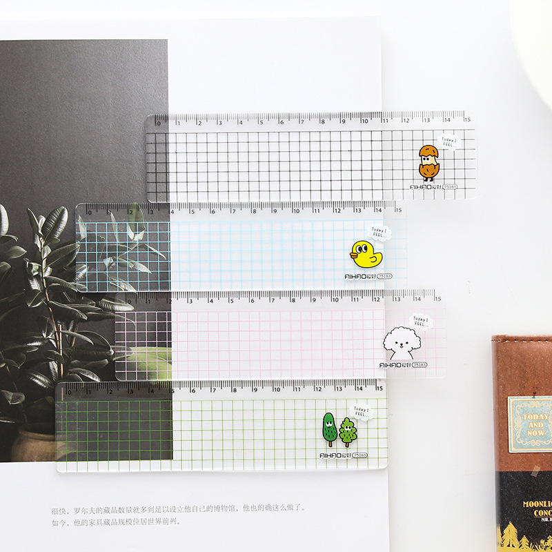 15cm Kawaii Animal Transparent Ruler Plastic Simple Grid Ruler Learning Stationery Drawing Supplies Student School Office Items