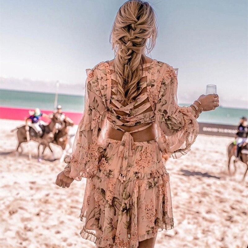 Haute qualité 2018 été col en v Sexy dos nu à manches longues imprimé Floral Mini robe S-XL