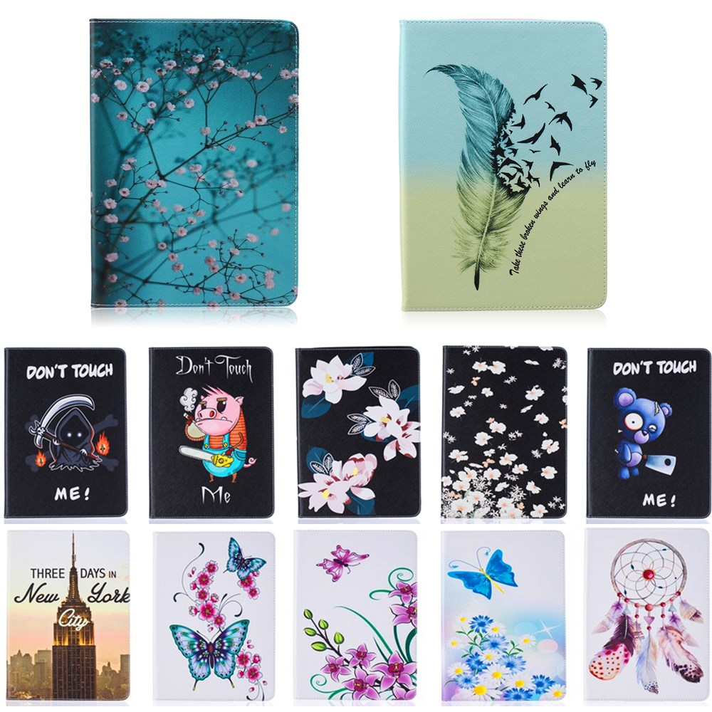 Fashion Stand PU Leather <font><b>Case</b></font> For <font><b>Samsung</b></font> <font><b>Galaxy</b></font> <font><b>Tab</b></font> A 9.7 inch <font><b>SM</b></font> <font><b>T550</b></font> T551 T555 Beautiful Painted tablet Shell <font><b>Cover</b></font> #K image