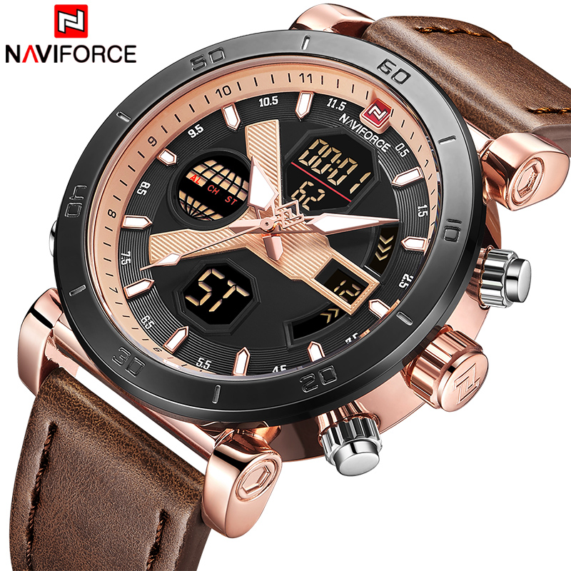 NAVIFORCE Luxury Brand Men Fashion LED Digital Quartz Watches Man Leather Sport Watch Male Dual Display Clock Relogio MasculinoNAVIFORCE Luxury Brand Men Fashion LED Digital Quartz Watches Man Leather Sport Watch Male Dual Display Clock Relogio Masculino