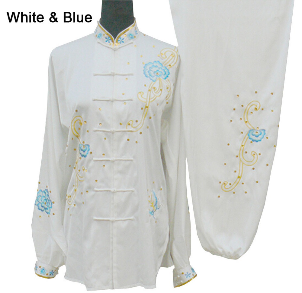 Embroidered Tai Chi Suit Kung Fu Performance Clothing Women Morning Exercise Costume Suits Tops + Pants + Chiffon Cardigan