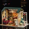 Ручной работы Кукольный Дом Мебель Diy Миниатюрный Комплект с Крышкой LED Light Dollhouse Деревянные Игрушки Для Детей Взрослые Рождественских Подарков