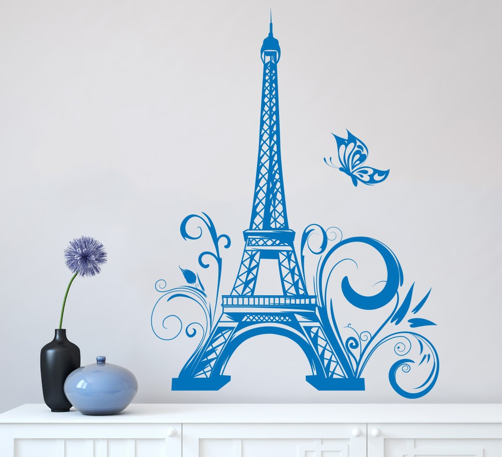 Classic Eiffel Tower Butterfly Paris Wall Decals Sticker Vinyls Stickers  Wall Stickers Home Decor Living Room Wall Decorations In Wall Stickers From  Home ...