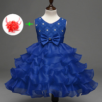 Children Clothes 9 Colors Pink White Little Girl Ball Gowns With Rhinestones Layered Party Dresses Infant
