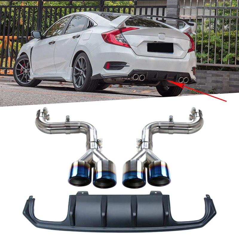 Pour Honda Civic 2016 2017 MC Style pare-chocs diffuseur tuyau d'échappement mise à niveau remplacement