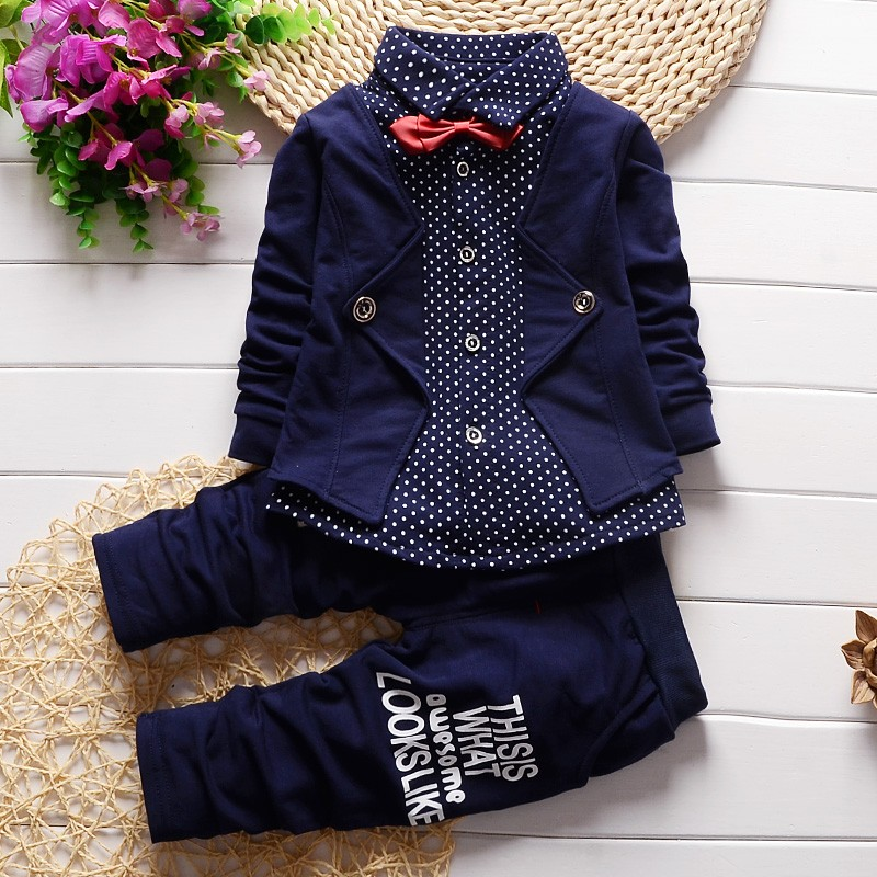 BibiCola Spring Autumn Baby Boy girls Clothing Sets children Bow tie T-shirts +pants kids cotton cardigan 2 pc suit sport suit