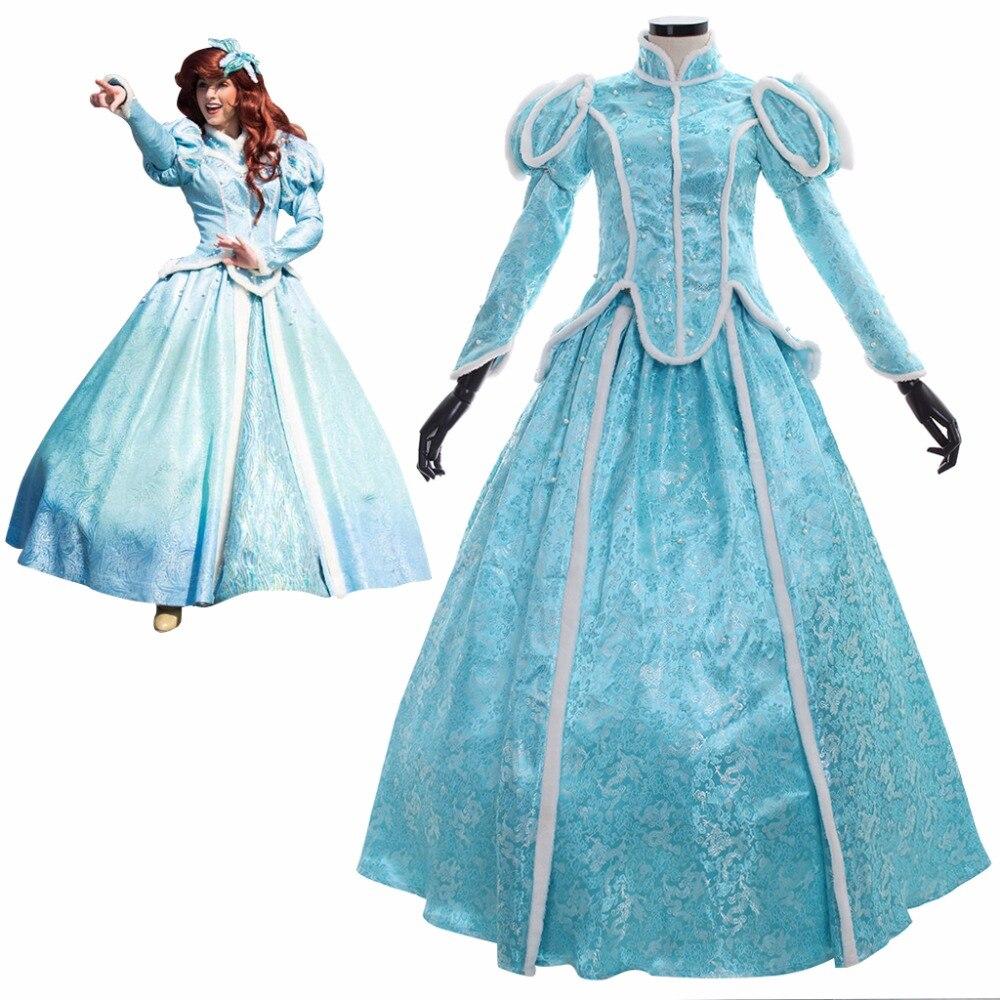 Custom Made Princesse La Petite Sirène Princesse Ariel Hiver Cosplay Costume Adulte Femmes De Mariage Robe Cosplay J109