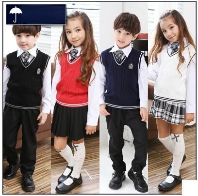 6e3dac223aa07 Coreanos británicos japonés uniforme escolar para niños ropa uniforme  escolar niñas niños y niñas suéter de los niños ropa de la falda 5 sets en  Sistemas de ...