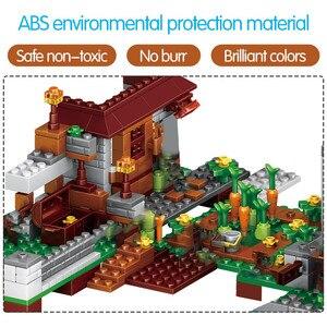 Image 2 - 1208PCS Building Blocks City Village Warhorse City Tree House Waterfall Bricks Educational Kids Toys for children