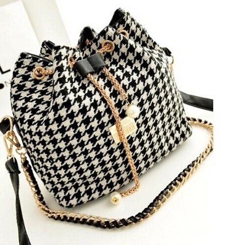 5 Pcs Of (VSEN Canvas Drawstring Bucket Handbag Chains Shoulder Bags Clutch Messenger Bags Bolsa)