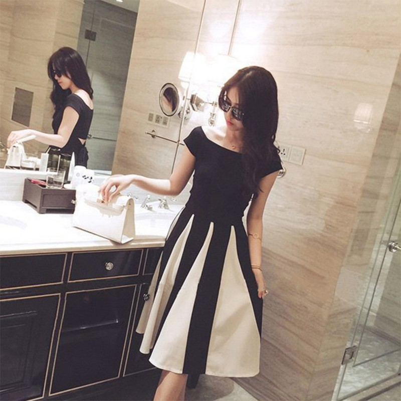 Summer two piece set Women New Style <font><b>Sexy</b></font> Charming Slim Fit Striped Off Shoulder <font><b>Short</b></font> Sleeve Dresses Sets <font><b>ensemble</b></font> <font><b>femme</b></font> image
