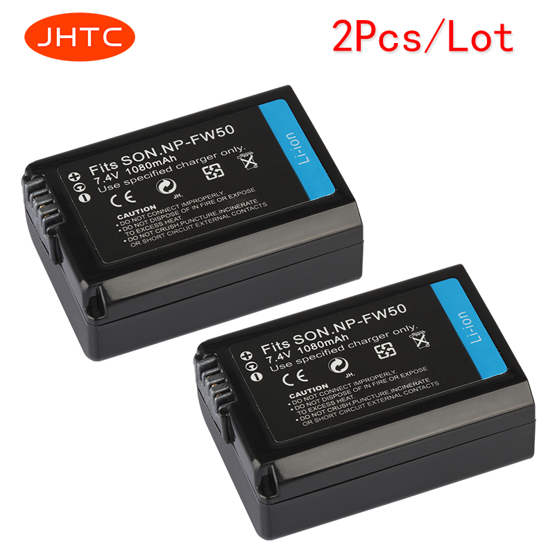 JHTC 2Pcs/lot 7.4v 1080mAh NP-FW50 NP FW50 NPFW50 Replacement battery For Sony Alpha a6500 a6300 a6000 a5000 a3000 NEX-3 a7R
