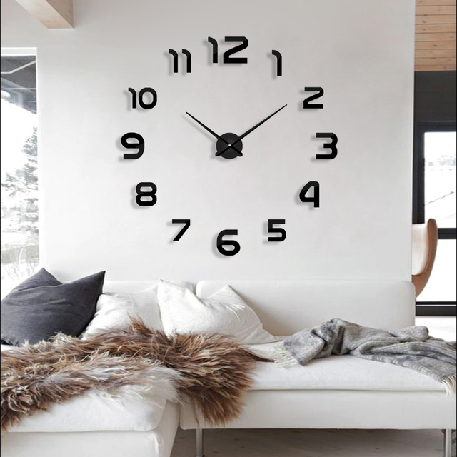 2018 new clock watch wall clocks horloge 3d diy acrylic mirror Stickers Home Decoration Living Room Quartz Needle free shipping