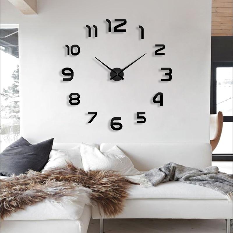 2019 שעון חדש לצפות שעוני קיר horloge 3D דקי מראה אקריליק סטיקרים הבית קישוט חדר מגורים קוורץ מחט משלוח חינם