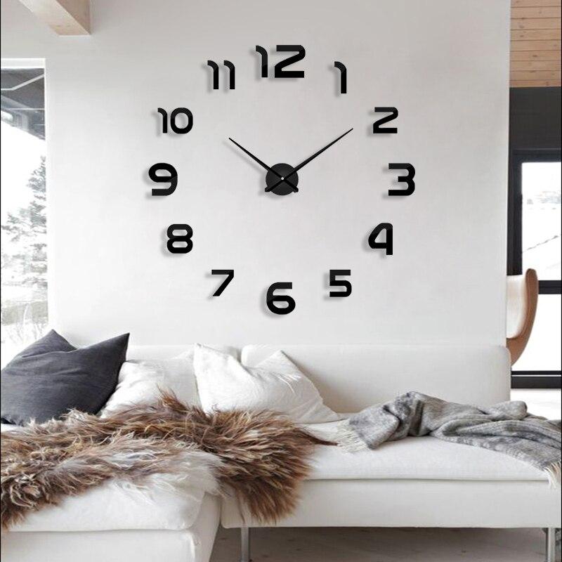 2019 nuevo reloj Relojes de pared horloge 3d de acrílico diy espejo pegatinas casa decoración de la habitación de aguja envío gratis
