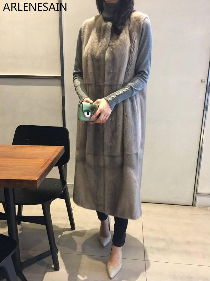Arlenesain personalizzato Nuovo Importato Lungo Reggette Pelliccia del Visone delle donne della maglia